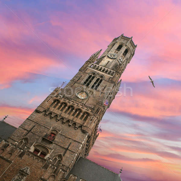 Belfry bell tower on sunset in Bruges Stock photo © artjazz