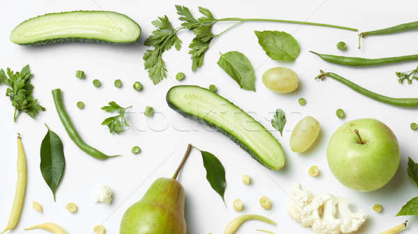 fresh organic green vegetables and fruits Stock photo © artjazz