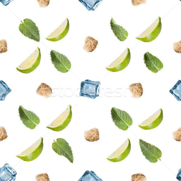 Mojito ingredienti isolato bianco calce Foto d'archivio © artjazz