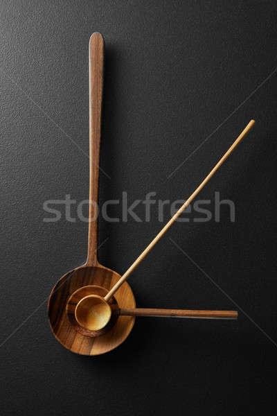 Topo ver preto despertador colheres Foto stock © artjazz