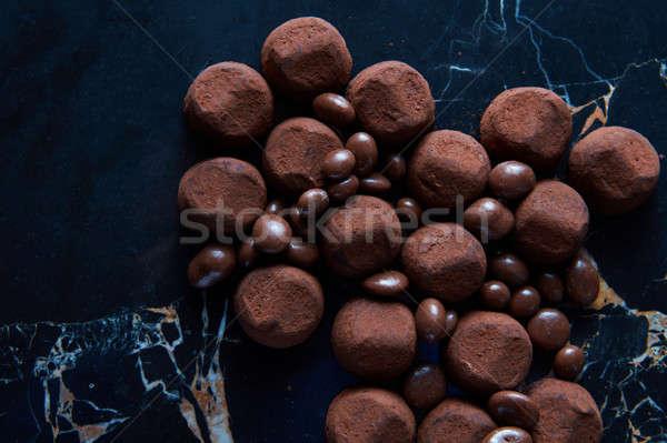 Foto stock: Delicioso · chocolate · caseiro · preto · mármore · páscoa