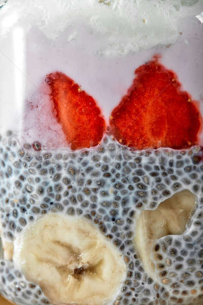 Superfoods breakfast with Chia seed pudding and berries in a glass, close up Stock photo © artjazz