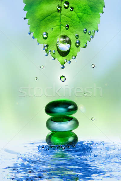 balancing spa shiny stones in water splash with leaf and drops Stock photo © artjazz