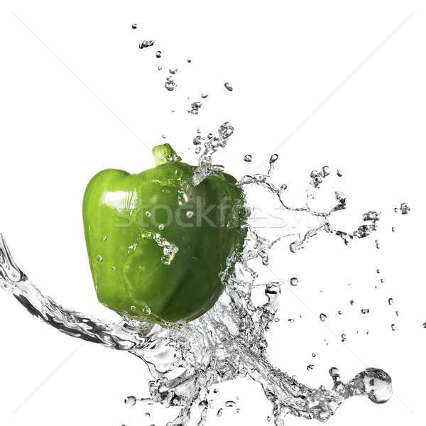 água doce salpico verde doce pimenta isolado Foto stock © artjazz