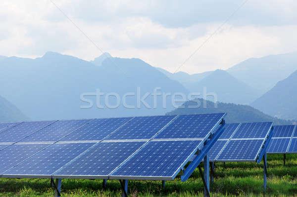 solar panels against mountains Stock photo © artjazz
