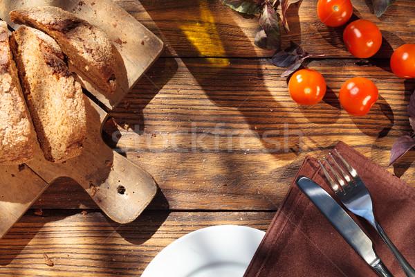 Felső kilátás olasz étel fa asztal kenyér olívaolaj Stock fotó © artjazz
