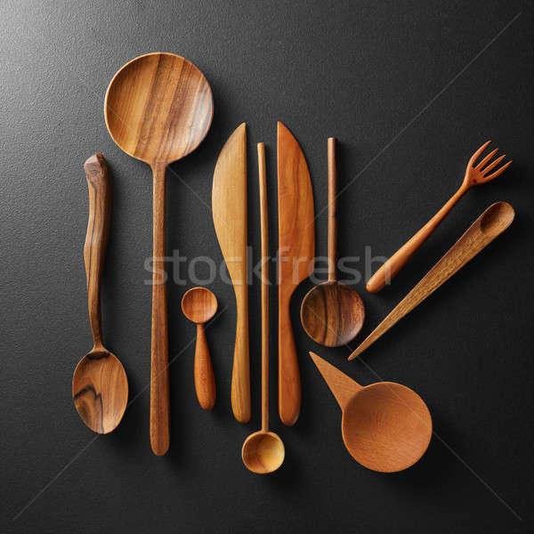 Bois coutellerie noir cuisine Photo stock © artjazz