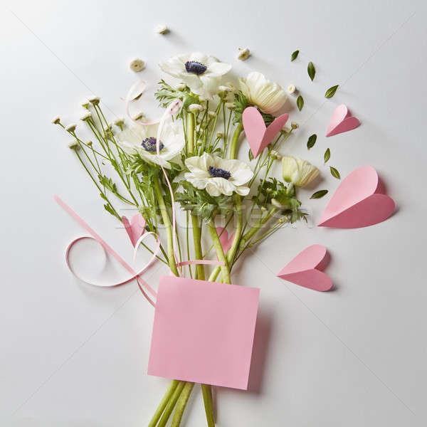 Ramo flores corazones tarjeta texto rosa Foto stock © artjazz