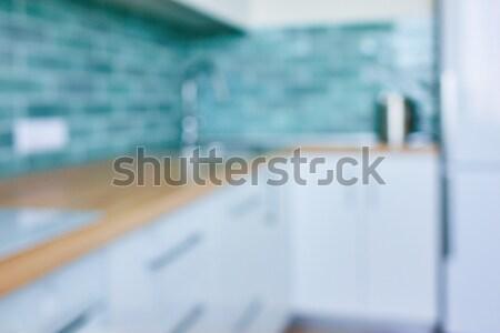 Foto stock: Turva · imagem · interior · da · cozinha · interior · branco · cozinha