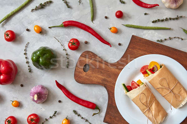 A tasty vegetable burrito on a plate Stock photo © artjazz
