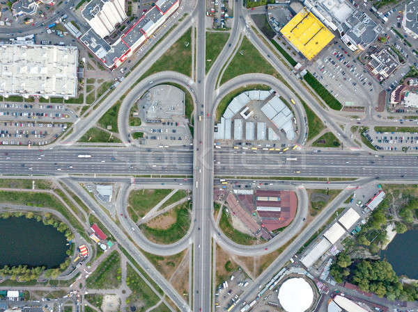 Aerial view roadway system in Kiev with many cars on the roads. Drone photograph Stock photo © artjazz