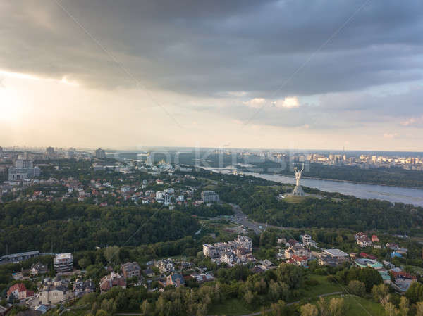 A bird's eye view, panoramic view from the drone to the Botanical Garden, the Motherland Monument ,  Stock photo © artjazz