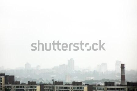 市 風景 新しい 住宅 霧の 曇った ストックフォト © artjazz