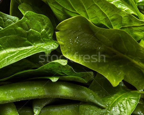 Doğal yeşil yaprakları ıspanak genç yeşil bezelye Stok fotoğraf © artjazz