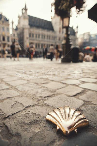 Kagyló Brüsszel Santiago fő- tér Belgium Stock fotó © artjazz