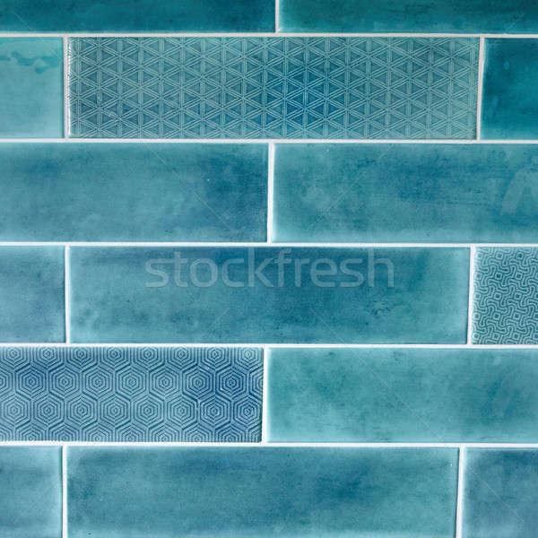 Rettangolare piastrelle blu texture ornamento acqua Foto d'archivio © artjazz