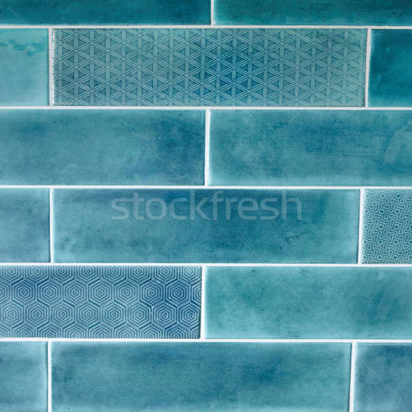Dikdörtgen biçiminde karo mavi doku süs su Stok fotoğraf © artjazz