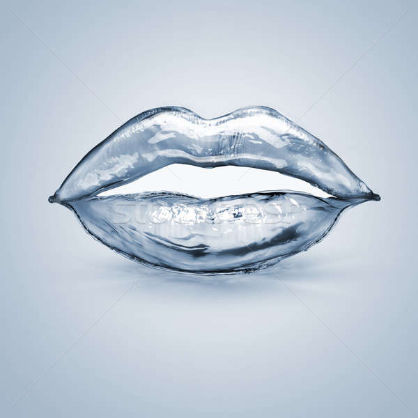 splash lips made of blue water Stock photo © artjazz