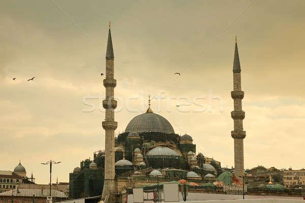 Stock fotó: Kék · mecset · Isztambul · Törökország · építészet · vallás