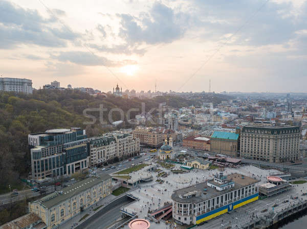 view of the river station, Postal Square with St. Elijah Church , tourist boats and the Andreev Chur Stock photo © artjazz