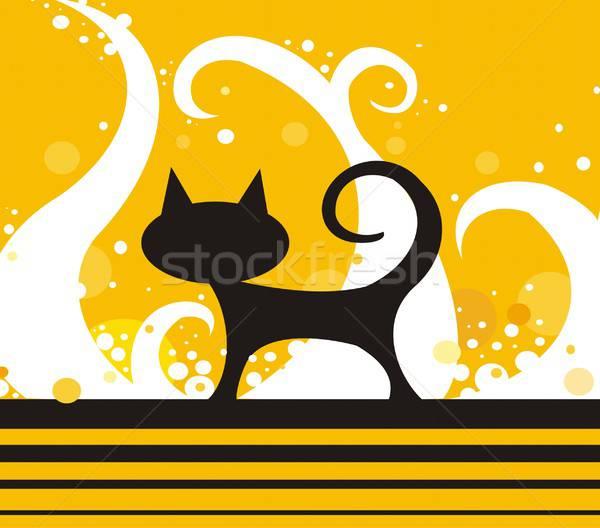 Silhouet kat ontwerp oranje dier Stockfoto © Artlover
