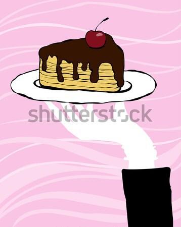 Schokoladenkuchen Stück verlockend weiß Platte rosa Stock foto © Artlover