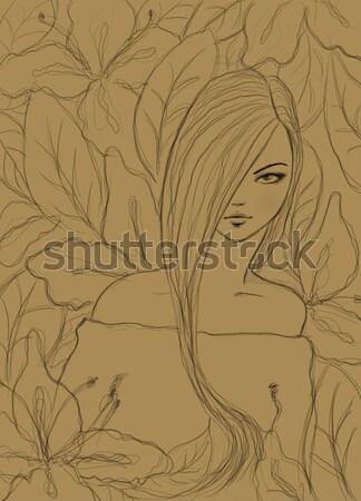 Stok fotoğraf: Güzel · kız · kalem · kroki · moda