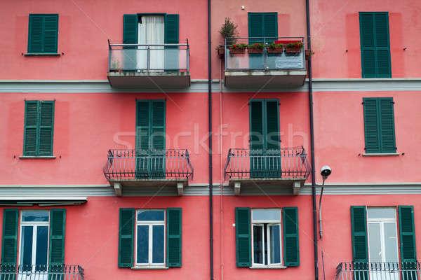 Czerwony fasada Fotografia jasne włoski miasta Zdjęcia stock © Artlover