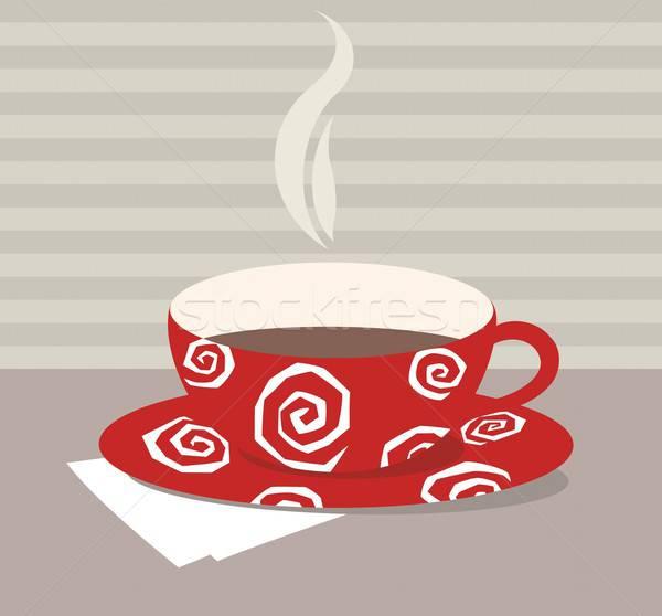 Tazza da tè rosso bianco pattern piegato tessuto Foto d'archivio © Artlover