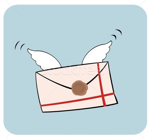 Brief vleugels cartoon mail communicatie snelheid Stockfoto © Artlover