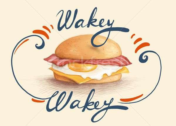 Boczek jaj śniadanie bułeczka żywności Zdjęcia stock © Artlover