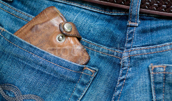 Vieux portefeuille photo cuir jeans Photo stock © Artlover