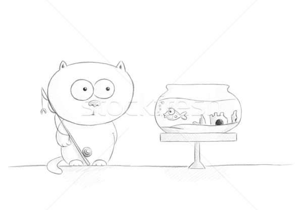 Vissen potlood schets witte naar kat Stockfoto © Artlover