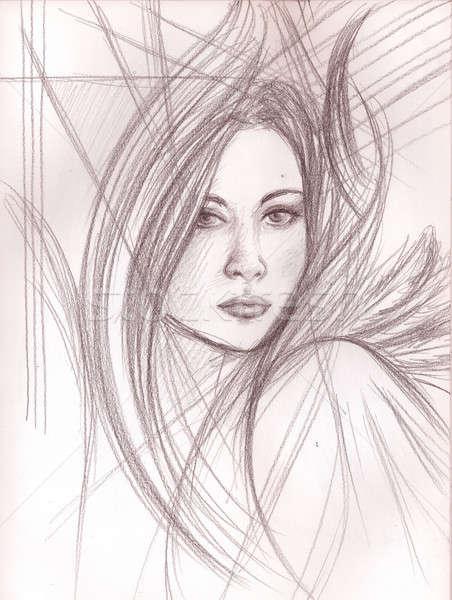 Portre kalem kadın soyut elemanları Stok fotoğraf © Artlover