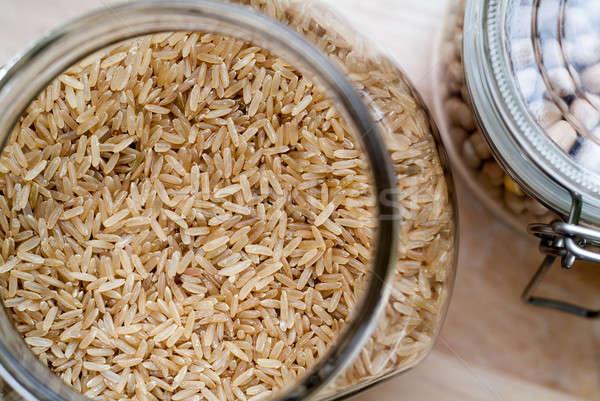 Bruin rijst foto glas jar Stockfoto © Artlover