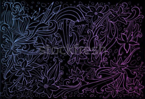 Nacht bloemen abstract ontwerp zwarte Stockfoto © Artlover