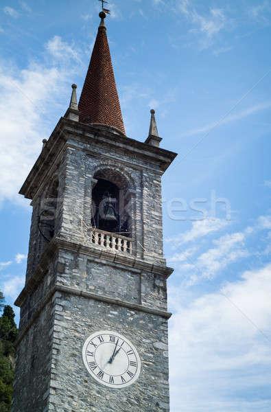 çan kule eski taş mavi gökyüzü saat Stok fotoğraf © Artlover