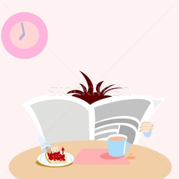 завтрак человека чтение газета продовольствие домой Сток-фото © Artlover