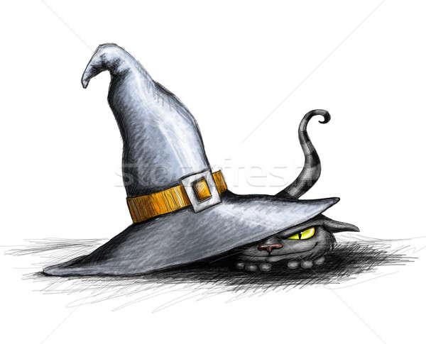 Halloween kat ondeugend tonen omhoog hoed Stockfoto © Artlover