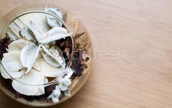 элегантный стекла белый коричневый Постоянный деревянный стол Сток-фото © Artlover