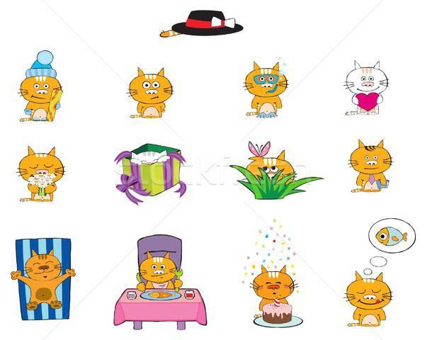 кошек тринадцать смешные различный продовольствие рыбы Сток-фото © Artlover