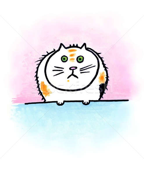 Szőrös gondolkodó rajzfilmszerű macska ül gondolkodik Stock fotó © Artlover