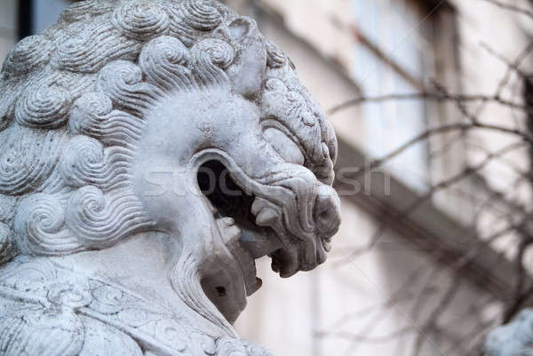 Lion photo statue pierre dents Photo stock © Artlover