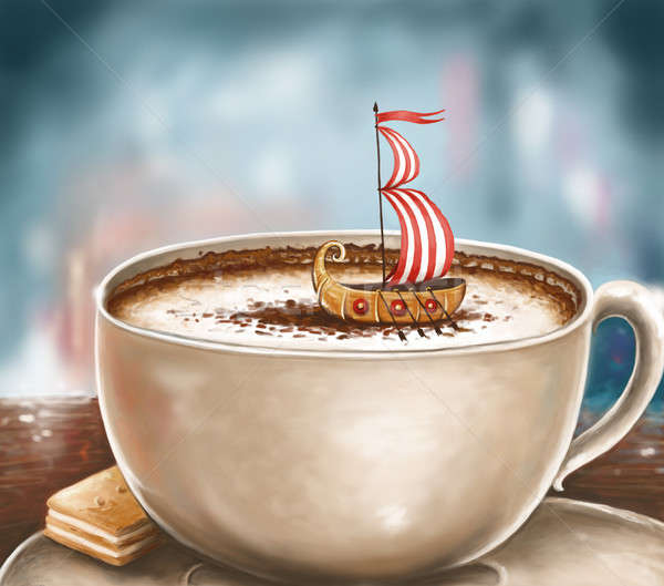 Cappuccino rêves illustration tasse viking Photo stock © Artlover