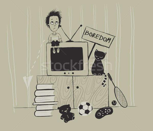 Tédio desenho triste menino engraçado pessoa Foto stock © Artlover
