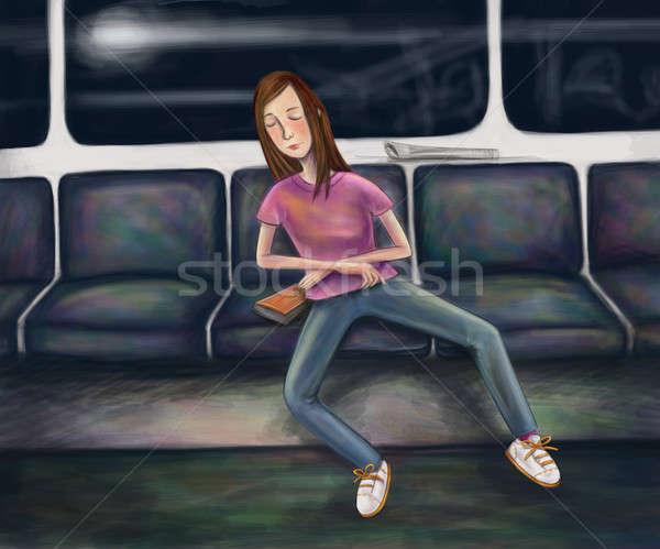 Tüp uykulu kız kadın kişi çizim Stok fotoğraf © Artlover