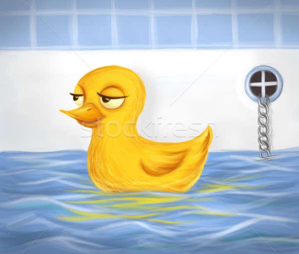 Sarı yüzme banyo kuş oyuncak banyo Stok fotoğraf © Artlover