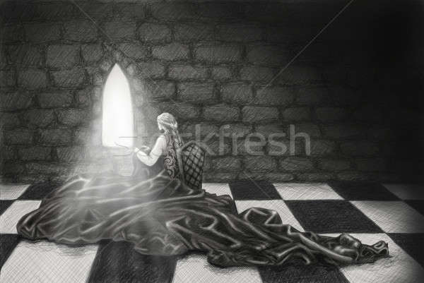 裁縫 鉛筆 図面 少女 暗い 中世 ストックフォト © Artlover