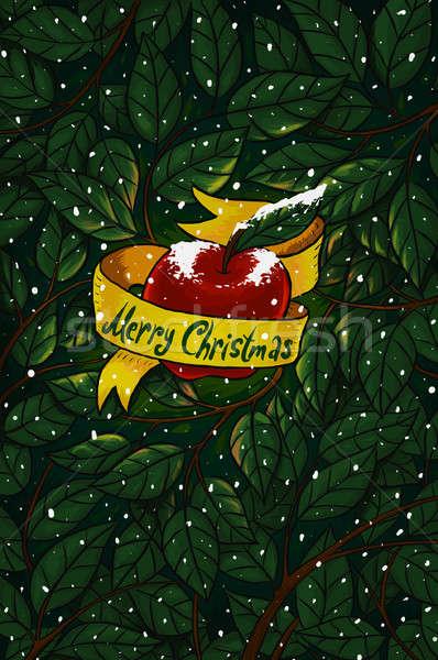 Christmas appel mooie rode appel Geel lint Stockfoto © Artlover