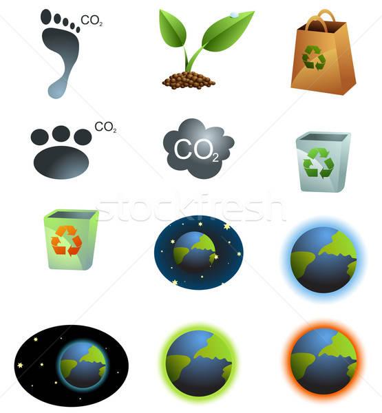 Eco ícones ambiente planeta terra espaço Foto stock © Artlover